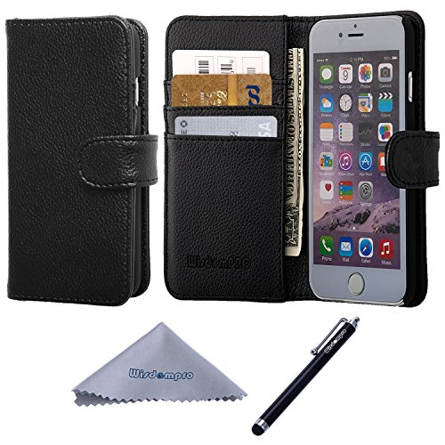 iPhone 6 / 6s Case, Wisdompro Premium PU Leather 2-in-1 Protective [Folio Flip Wallet] Case with Credit Card Holder/Slots for Apple 4.7 iPhone 6s /6 (Black)