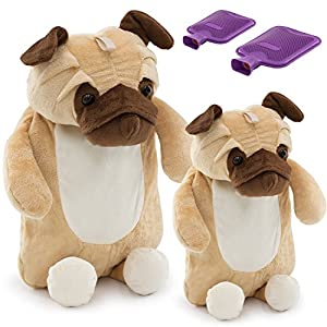 HomeTop Premium Classic Rubber Hot Water Bottle Family 2 Bottle Set with Cute 3D Animal Cover (2L + 1L, Huggy Puggy)