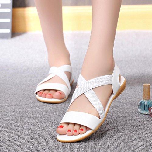 Sandales De Plage Digood Pour Les Femmes, Les Filles Des Adolescentes Anti-dérapant Sangle Croisée Loisirs Pantoufles Chaussures Blanches