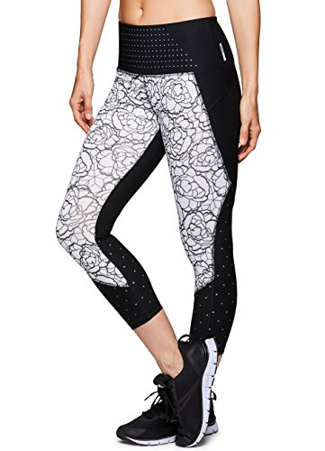 RBX Active Women's Yoga Workout Printed Capri Leggings Sketched Floral Black L