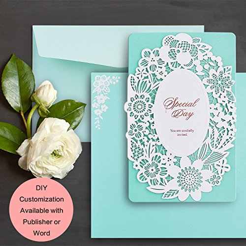 Printable Dinner Invitations - Weddingbob 5Pcs Laser Cut Wedding Invitations Cards Kit for Bridal Shower Dinner with Envelopes and Printable Paper White Hollow-carved Lace with Tiffany Blue Cards and Foil Stamping Words (5)