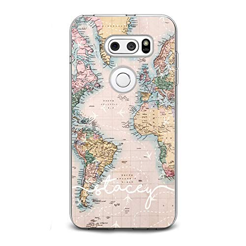 (Lex Altern TPU Case for LG G8 Stylo 5 K11 G7 ThinQ G6 V40 V35 V50 K8 Flight Map Initial Simple White Name Pattern Cute Phone Cover Silicone Print Protective)