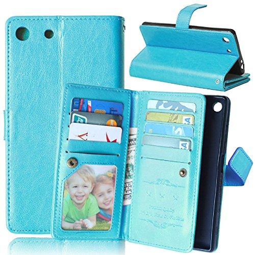 JIALUN-Fall für Sony Sony M5 Tasche, Volltonfarbe Hohe Qualität PU Ledertasche für Wallet Case für Sony M5 Einfach und stilvoll ( Color : Rose , Size : M5 ) Blue