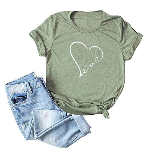Emimarol Women T-Shirt Funny Letter Printed Graphic Tee Summer Short Sleeve Shirts Tops Tee Green ()