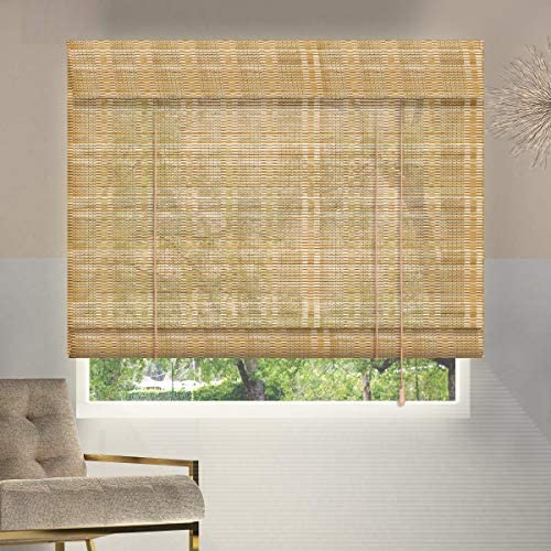 ZY Blinds Bamboo Window Blinds, 31W x 60H Inches Bamboo Light Filtering Roll Up Window Roller Shades with Valance for Doors, Sliding Door, Restaurant, Kitchen, Living Room, Porch, Balcony, Pattern 10