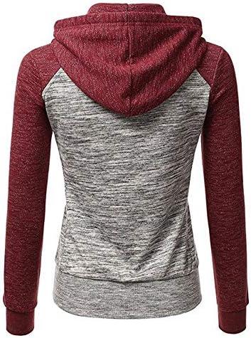 Xiakolaka Hoodies for Women Splicing Block Hooded Sweatshirt Jacket Long Sleeve Top for Women with Plus Size Long Sleeve Top