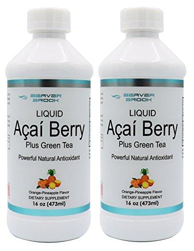 Beaver Brook Liquid Acai Berry Powder 500mg Dietary Supplement with Green Tea and Vitamin C - Orange Pineapple - 2 Pack