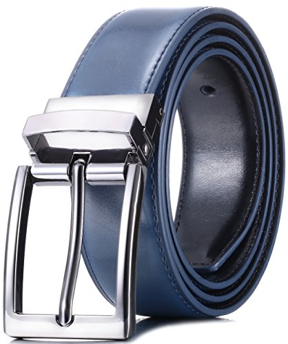 Marino Reversible Leather Belt For Men - Classic Dress Belt 1.25