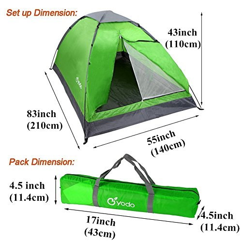 yodo Upgraded Lightweight 2 Person Camping Backpacking Tent with Carry... - 51ox6S 92tL