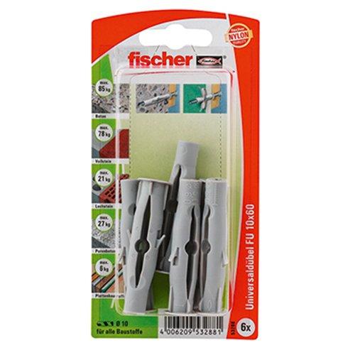 Fischer 53288 Lot de 6 Chevilles universelle FU 10 x 60 mm K