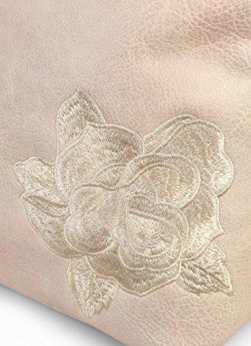 BOSANOVA Bandolera rectangular con flor bordada Taupe