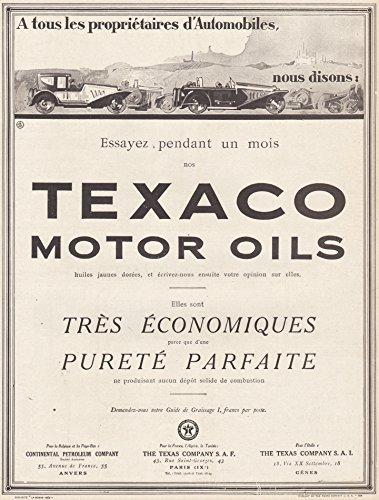 1925 Print Ad Texaco Motor Oils Purete Parfaite (Oil Purete)