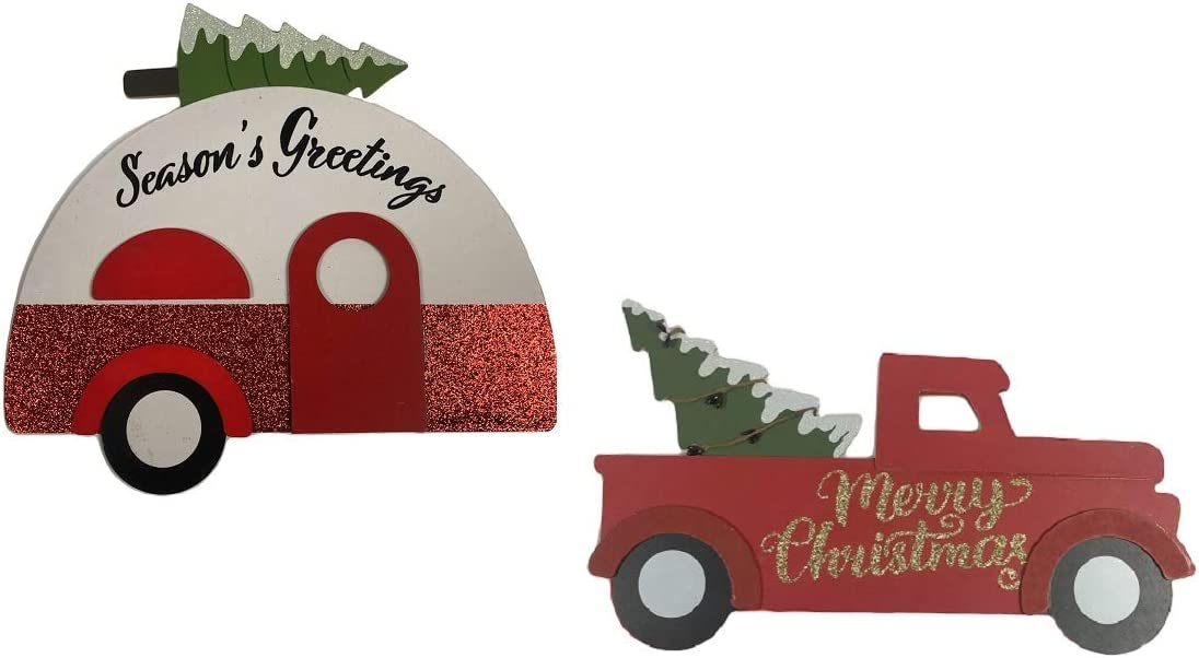 GBI Christmas House Red Truck and Travel Trailer Holiday Wall Signs (Set of 2)