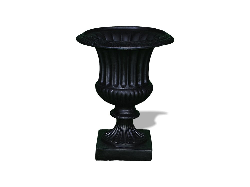 Amedeo Design ResinStone 2509-26B Classic Ribbed Urn, 22 by 22 by 29-Inch, Black