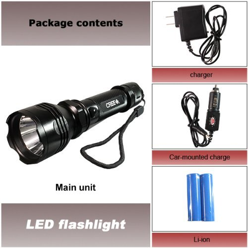 High Quality Black CREE LED K8 Rechargeable Flashlight Torch Lamp 500 Lumens 3 Switch Mode: Strong Brightness / Normal Brightness / - Mall America Of Stores