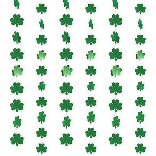(St.patricks Day Decorations,Konsait Glitter Shamrock Foil String Hanging Garland (39.37FT, 57Shamrocks) Irish Green St Patrick's Party Accessories for St Patrick Party Home Party Decor Favors Supplies)