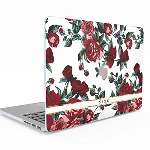 497addbed93808 Personalised Personalized Customizable First and Last Name Initial Text  Custom Vintage Wild Red Roses MacBook 12 Inch Case with Retina Display  Model  A1534