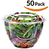 DOBI Salad to-Go Containers, 48oz, (50 Pack) - Clear Plastic Disposable Salad Bowls with Lids, Large Size