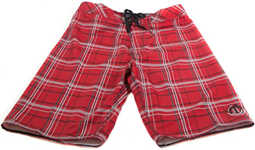 Element Boardshorts - Element Ready Aim Plaid 4-Way Stretch Boardshort - Red (30)