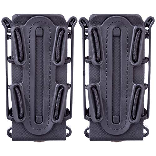 FenglinTech 2PCS Mag Pouch for 9mm Luger/1911 45 ACP Magazine - (Black) ()