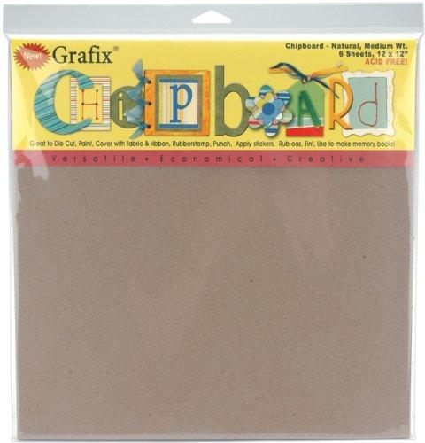 Grafix Medium Weight Chipboard Sheets, 12-Inch by 12-Inch, Natural, 6/Pkg