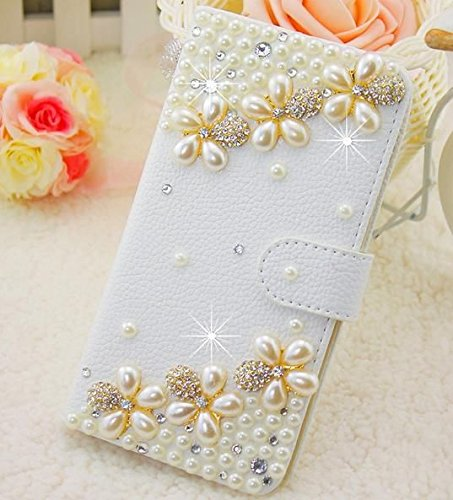 (iPhone 6 Plus Case, iPhone 6s plus case, Surpriseyou Handmade 3D Diamond Bling Crystal Rhinestone Leather Wallet Purse Flip Card Pouch Stand Cover Case for iPhone 6 Plus & 6s Plus (Pearl Flowers))