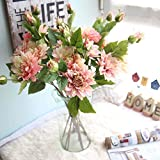 Artificial Flowers,Fake Flowers Silk Dahila Flowers Bouquet Gifts Wedding Party Floral Home Decor 3Pcs 6 Heads