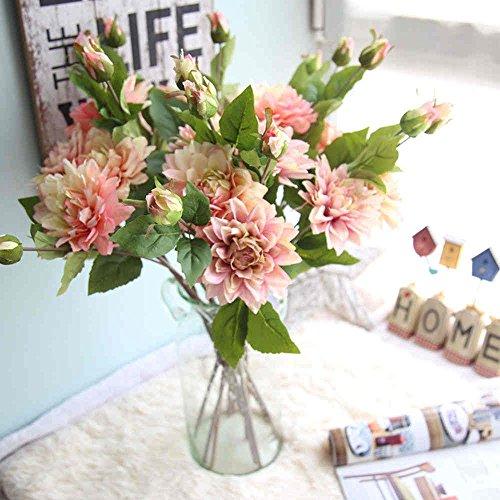 Artificial Flowers,Fake Flowers Silk Dahila Flowers Bouquet Gifts Wedding Party Floral Home Decor 3Pcs 6 Heads