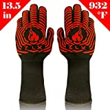 ZLX BBQ Grill Gloves, 932°F Heat Resistant Grill Mitts, 13-Inch Elastic Gloves, Innocuity and Non-Slip Gloves. Eco-Friendly Silicone for Barbecue, Cooking, Frying and Oven, Fireplace, Kitchen