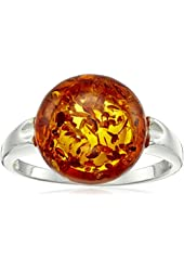 Honey Amber Sterling Silver Round Ring