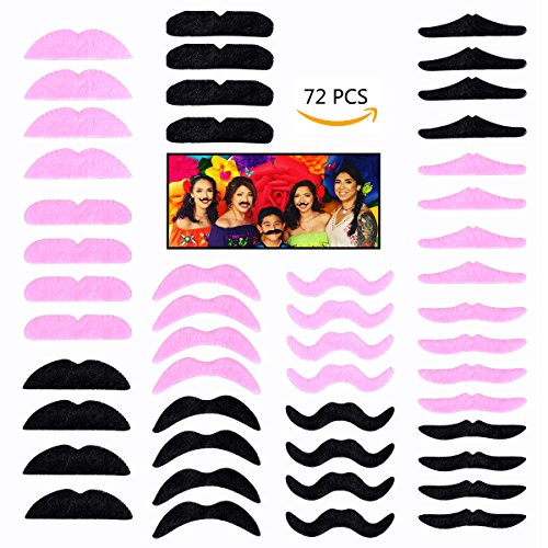 YoungRich 72 Piece Fake Mustache Self-adhesive Assorted Multiple Shapes Photo Props Mustache Party Supplies for Kids Adults Children Decoration Birthday Party Black Pink