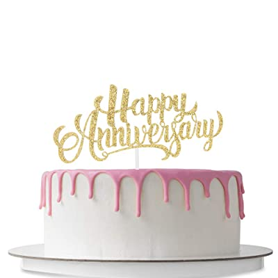 Happy Anniversary Cake Topper, Wedding Anniversary, Company Anniversary, Birthday Party Decoration, Anniversary Celebration Party, Double Sided Gold Glitter: Toys & Games