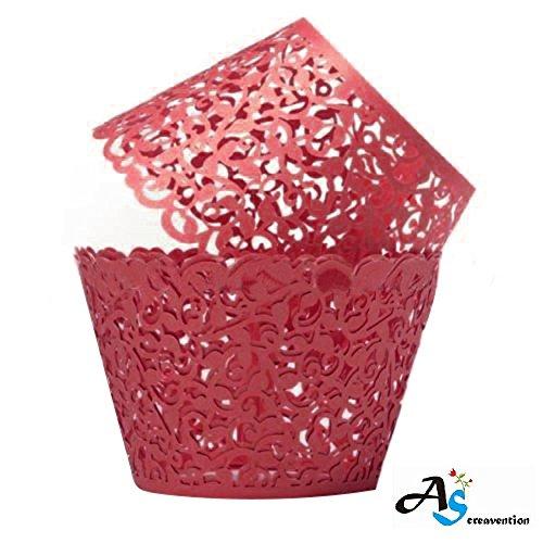 (A&S Creavention Vine Cupcake Holders Filigree Vine Designed Decor Wrapper Wraps Cupcake Muffin Paper Holders - 50pcs (50, Red))