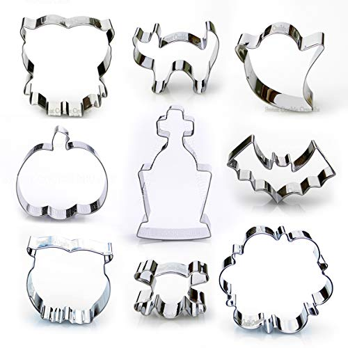 Halloween Cookie Cutter Set - 9 Piece Stainless Steel -