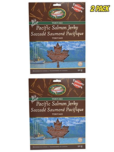 Wild Caught Canadian Smoked Salmon Jerky 2 Pack Seafood Fish Jerky From Pacific British Colmubia (Teriyaki)