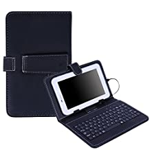 "HDE Hard Leather Folding Folio Case for 7"" Tablets with Micro USB / USB-C Keyboard Slim Folding Stand Cover for Android Tablets (Black)"