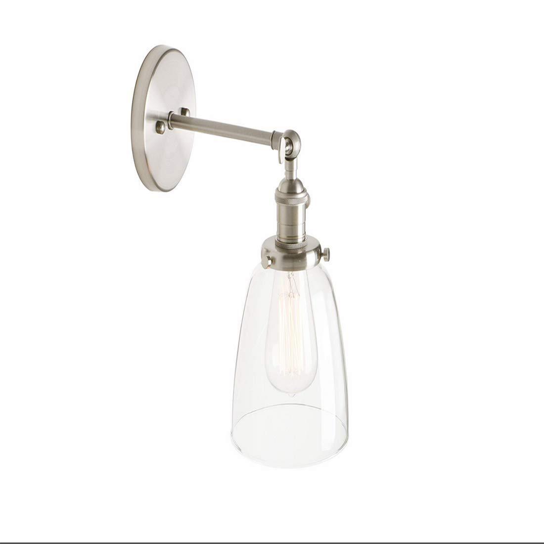 Industrielle Vintage Moderne Wandleuchte Armaturen Loft Bar Küchenlampe Wandleuchte Leuchte mit 5,5 Klarglas Lampenschirm E27 (gebürstet)