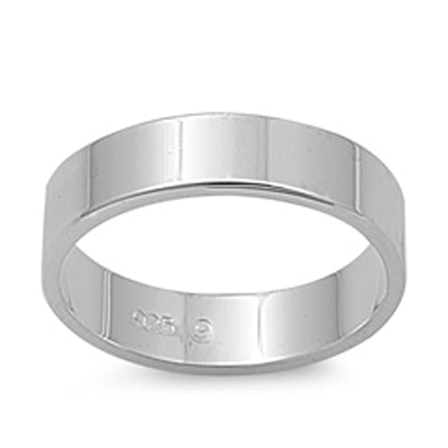 .925 Sterling Silver Classic 5mm Flat Wedding Band