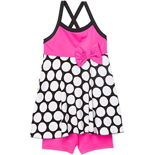 Arshiner Toddler Kids Girl Bow Polka Dot Swimwear Bathing Suit,Rose Red,Size 150