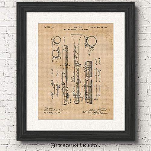 Vintage Clarinet Patent Poster Prints, Set of 1 (11x14) Unframed Photo, Wall Art Decor Gifts under 15 for Home, Office, Garage, Man Cave, College Student, Teacher, School Band, Musician, Rock Fan