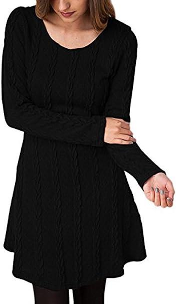 TALLA ES34 / S. Vestido Alinear De Punto Mujer Elegantes Vintage Otoño Invierno Jersey de Vestir Moda Ropa de Punto Camisetas Manga Larga Cuello Redondo Blusa Tops Casual Sudadera Unicolor Slim Fit Mini Vestidos Negro ES34 / S