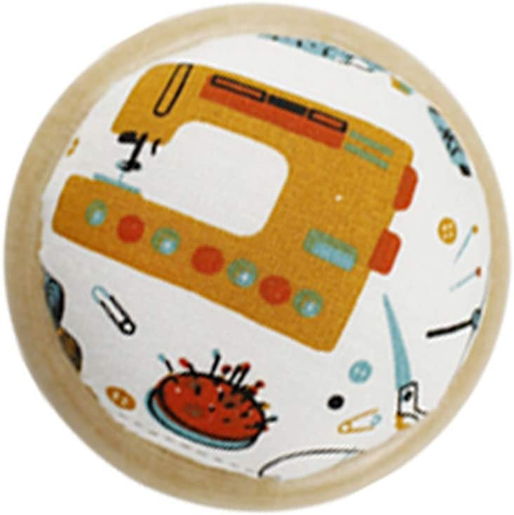 Wooden Base Round Sewing Needle Pin Cushion Printed Fabric for Daily Needlework DIY Craft