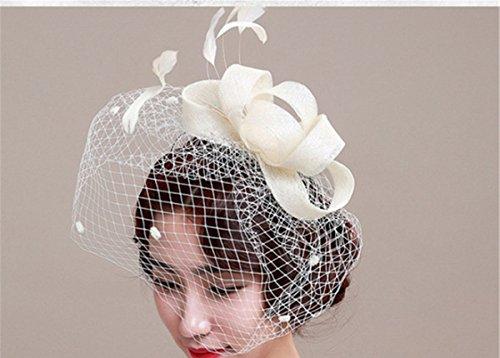 BININBOX Vintage Wedding Hair Feather Top Hat For Women Bridal Bridesmaids Headpiece Head Band Accessorie