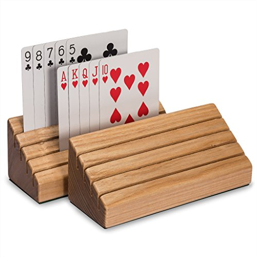 Solid Oak Wood Playing Card Holder | Rack | Organizer, Set of 2