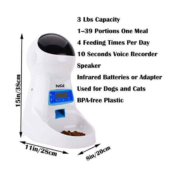 PetCul Automatic Cat Feeder 3L Pet Food Dispenser Feeder for Medium & Large Cat Dog——4 Meal, Voice Recorder & Timer Programmable, Portion Control 2
