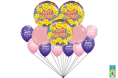 Happy Emoji Party Balloon Bouquet 13 Pieces