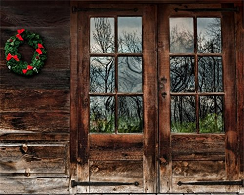 AOFOTO 10x8ft Vintage Wooden Door Photography Background Christmas Wreath Backdrops Old Rustic Cabin 2020 New Year Xmas Kids Adults Portrait Photo Studio Props Video Drape (Music Vintage Christmas Background)
