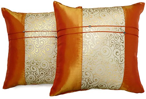Set of Two Orange Silk Throw Cushion Pillow Covers Gold Print Middle Stripe for Decorative Living Room, Bed room Sofa Car Size 16 x16 Inches (Silk Pillow Thai Throw)