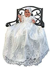 Aorme Lace Tulle Bonnet Long Christening Gowns for Girls Baptism Dresses