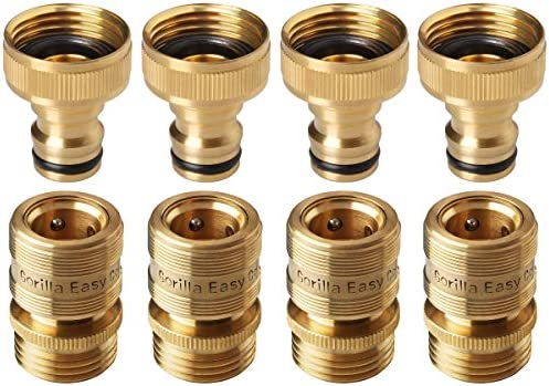 Quick Connect Hose >> Gorilla Easy Connect Garden Hose Quick Connect Fittings Inch Ght Solid Brass 4 Sets Of Male Female Connectors